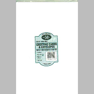 Leader A7 Greeting Cards W/Envelopes (5.25X7.25) 50/Pkg - White