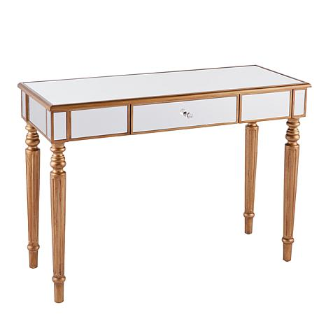 Leandro Mirrored Console Table - Champagne Gold