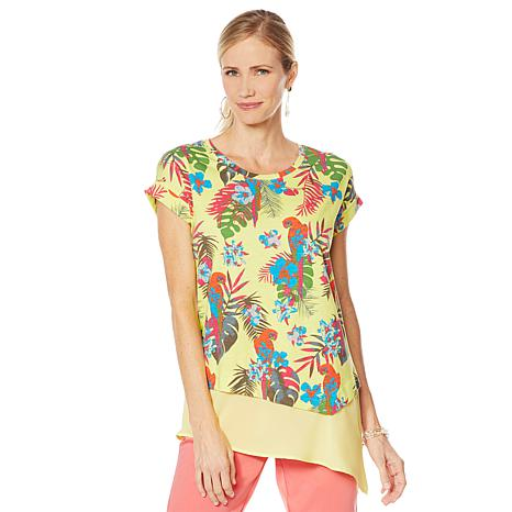 Lemon Way Dolman-Sleeve Printed Slub Knit Top