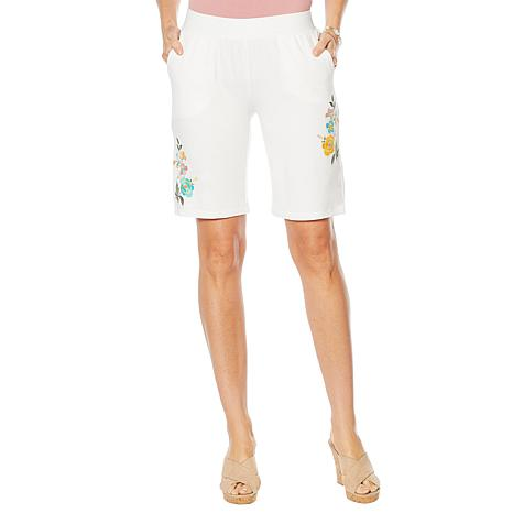 Lemon Way French Terry Bermuda Short with Embroidery