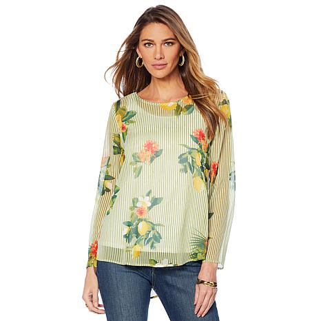 Lemon Way Printed Georgette Top and Tank