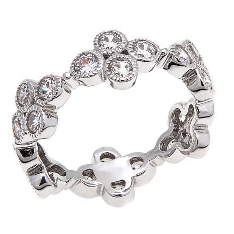 "Leslie Greene CZ ""Addison"" Cluster Band Ring"