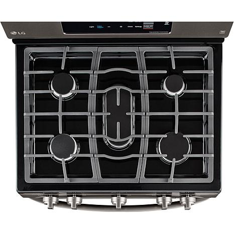 lg 54cf single oven gas range black stainless steel