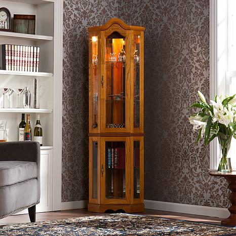 Lighted Corner Curio Cabinet - Golden Oak