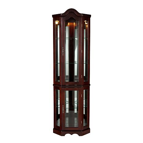 ... Lighted Corner Curio Cabinet with Mahogany Finish ... - Lighted Corner Curio Cabinet With Mahogany Finish - 6221877 HSN