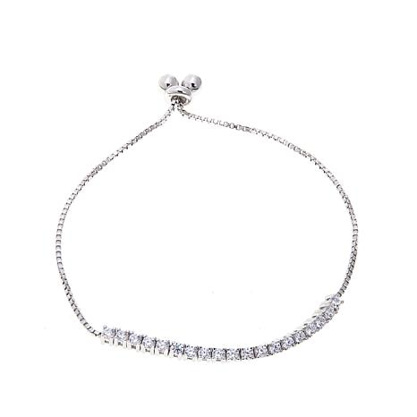 Lily Nily Girl's 1.14ctw CZ Sterling Silver Adjustable Bracelet