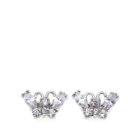 Lily Nily Girl's .96ctw CZ Butterfly Sterling Silver Stud Earrings