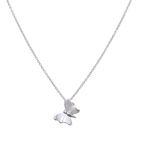 "Lily Nily Girl's CZ-Accent Butterfly 13"" Sterling Silver Necklace"