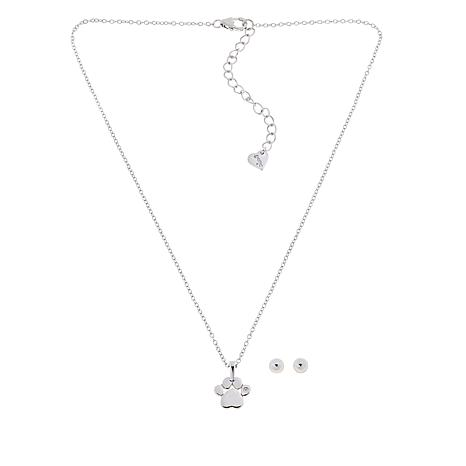 Lily Nily Girl's CZ Paw Print Pendant with Ball Stud Earrings