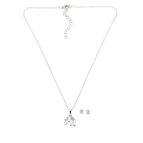 Lily Nily Girl's Elephant Pendant with White CZ Stud Earrings