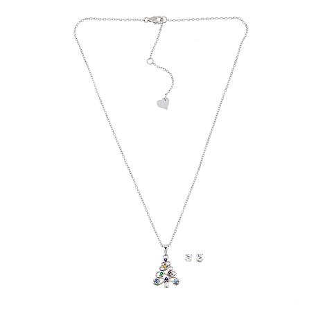 Lily Nily Girl's Festive Tree Colored CZ Pendant with Stud Earrings