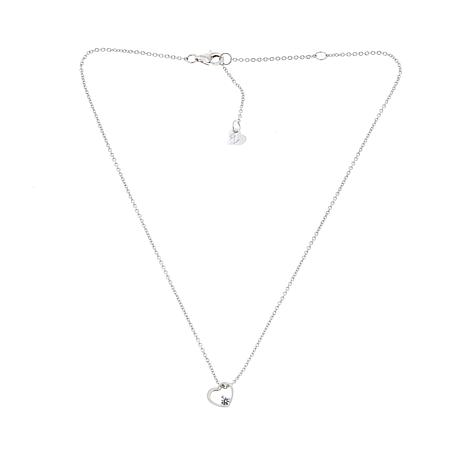 "Lily Nily Girl's Floating CZ Heart Pendant with 13"" Chain Necklace"