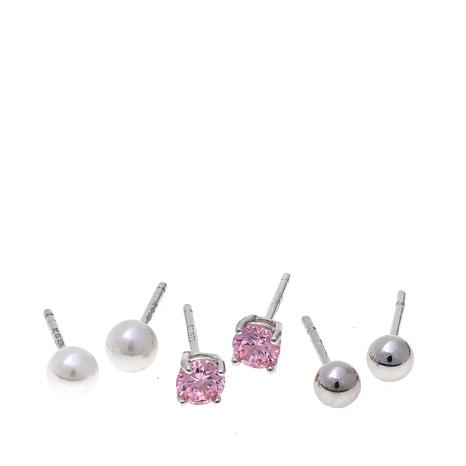 Lily Nily Girl's Set of 3 Sterling Silver Stud Earrings