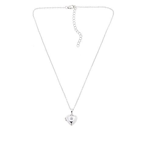 "Lily Nily Girl's Sterling Silver CZ Heart Locket with 13"" Chain"