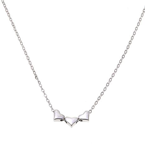 "Lily Nily Girl's Triple Heart 13"" Sterling Silver Necklace"