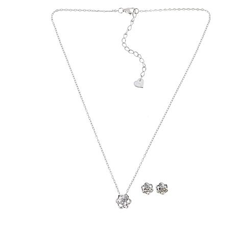 Lily Nily Sterling Silver CZ Flower Pendant with Flower Stud Earrings