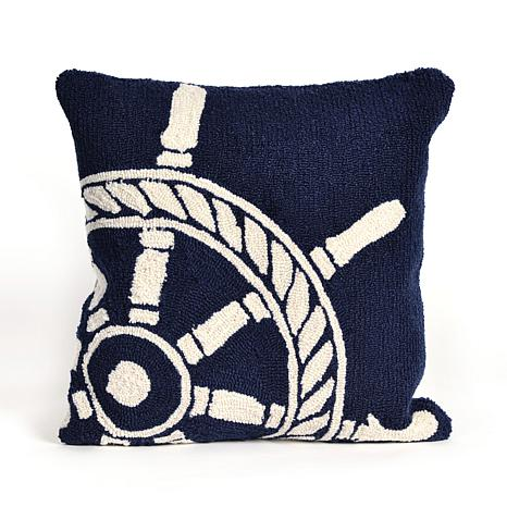 "Liora Manne Frontporch Ship Wheel 18"" Pillow - Navy"