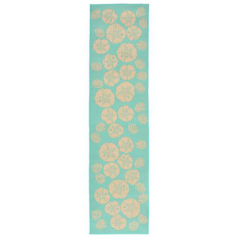 """Liora Manne Shell Toss Rug - Turquoise - 23"""" x 7-1/2'"""