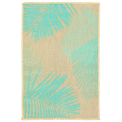 "Liora Manne Terrace Palm 23"" x 35"" Rug - Turquoise"
