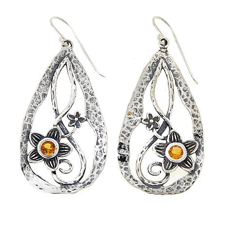 LiPaz .5ctw Citrine Hammered Floral Drop Sterling Silver Earrings