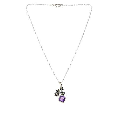 LiPaz Sterling Silver Amethyst and Peridot Floral Pendant with Chain