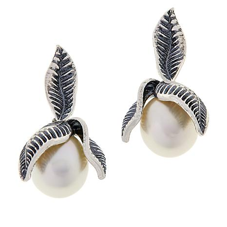 LiPaz Sterling Silver Leaves and Pearl Drop Earrings