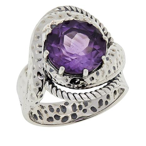 LiPaz Sterling Silver Textured Spiral 3.2ct Amethyst Ring