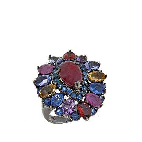 Lisa Klein Ruby and Multigemstone Cluster Ring