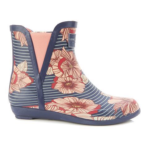 London Fog® PICCADILLY Rainbow Pull-On Ankle Rain Boot