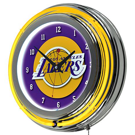 Los Angeles Lakers Double Ring Neon Clock
