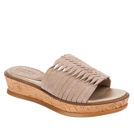 Lucca Lane Kalista Braided Suede Cork-Wrapped Wedge Slide