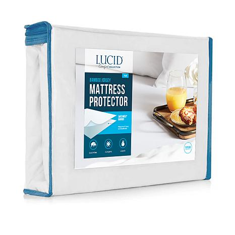 LUCID Comfort Collection Bamboo Jersey Mattress Protector - Queen
