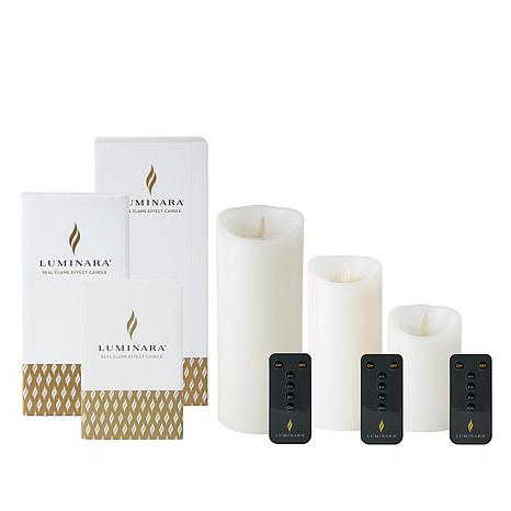 Luminara Set of 3 Flameless Candles with Remotes and Gift Boxes