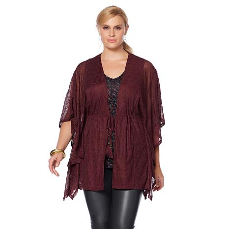 LYSSE Fall Luxe Willa Lace Kimono Wrap  - Plus