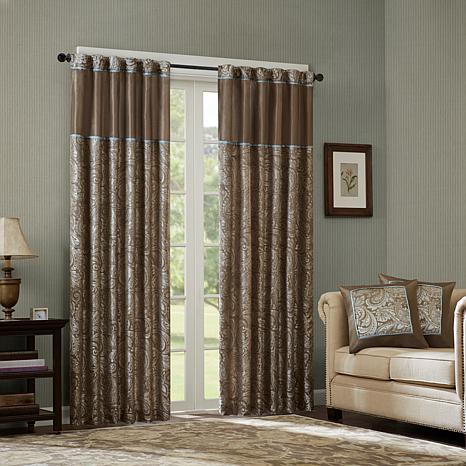 "Madison Park Aubrey Jacquard Panel Curtain Pair-Blue-50x108"""