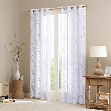 "Madison Park Averil Sheer Bird Window Panel Curtain - White - 50 x 63"""