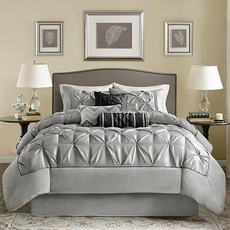 Madison Park Gray Laurel Comforter Set - Queen