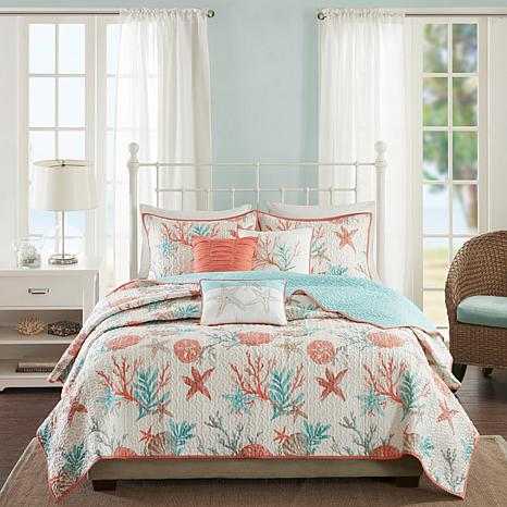 Madison Park Pebble Beach 6 Piece Coral Cotton Quilted Coverlet Set    King/California King