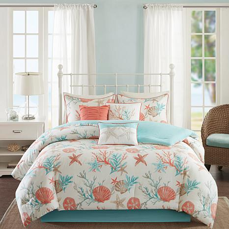Madison Park Pebble Beach 7 Piece Coral Cotton Comforter Set King