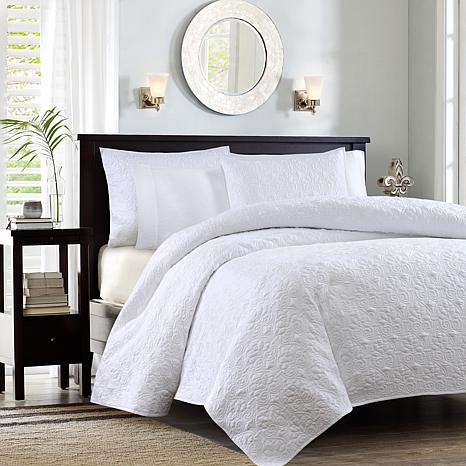 Madison Park Quebec Full/Queen Quilted Coverlet Mini Set - White