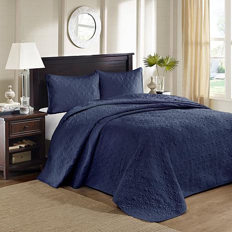 Madison Park Quebec King Quilted Bedspread Set - Navy