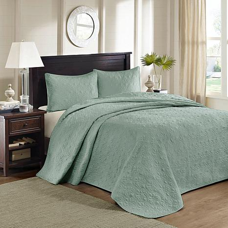 Madison Park Quebec Queen Quilted Bedspread Set-Seafoam
