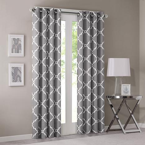 "Madison Park Saratoga Fretwork Curtain - Grey - 50""x84"""