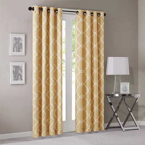 "Madison Park Saratoga Fretwork Window Curtain - Yellow - 50"" x 63"""