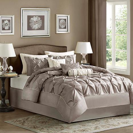 Madison Park Taupe Laurel Comforter Set - Full