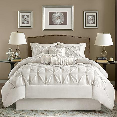 madison park white laurel comforter set cal king