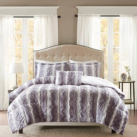 Madison Park Zuri  Faux Fur Comforter Set - Gray - F/Q