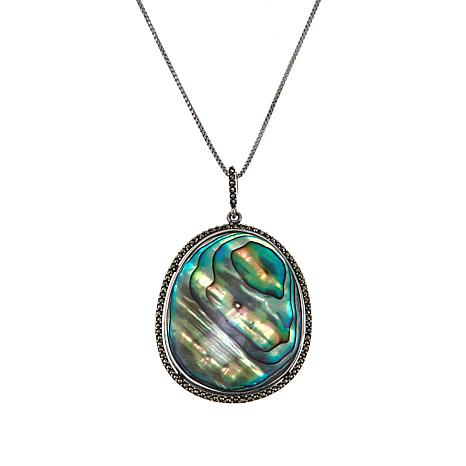 """Marcasite and Abalone Oval Pendant with 18"""" Box Chain"""