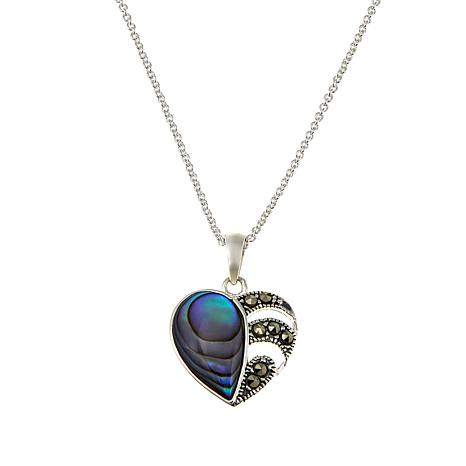 "Marcasite and Abalone Shell Heart Pendant with 18"" Cable Chain"