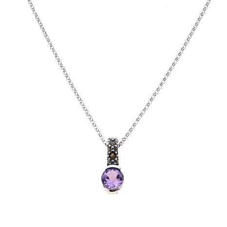 Marcasite & Amethyst Sterling Silver Pendant with Chain